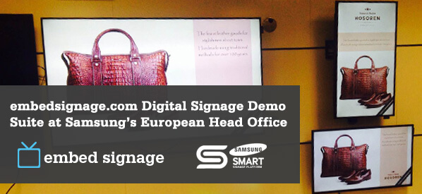 embed signage Digital Signage Software SaaS - Online Cloud Based Digital Signage Content Management - Digital Signage Demo Suite and Samsung's European Head Office