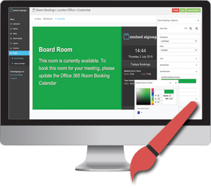 embed signage Digital Signage Software SaaS Online Cloud Based Content Management System - Room Booking System - Easy Customisation of Meeting Room Display Design