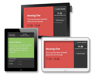embed signage Digital Signage Software SaaS Online Cloud Based Content Management System - Room Booking System - Wide Range of Compatible Devices for Meeting Room Displays