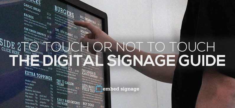 embed signage digital signage software interactive touch screen guide