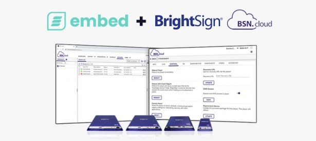 embed signage - digital signage software - brightsign BSN.cloud integrated partner