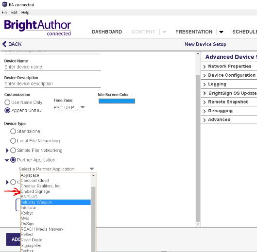 embed signage - digital signage software - brightsign BSN.cloud integrated partner