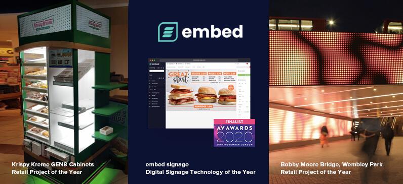 embed signage - digital signage software - AV Awards 2020 Finalists - Three Listings Nominations
