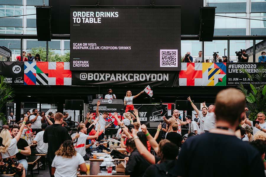embed signage - digital signage software - Boxpark customer story - Croydon Euro 2020 Fan Zone